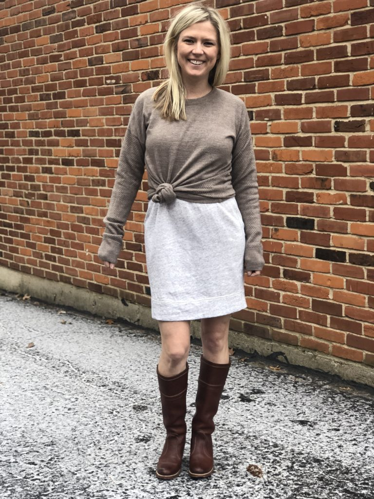 knotted sweater over dress