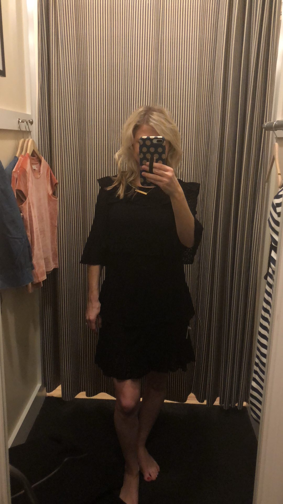 Madewell Black Eyelet waterlily ruffle dress | Madewell clothing try-on session featured by top Missouri fashion blogger, Emmy Lou Styles