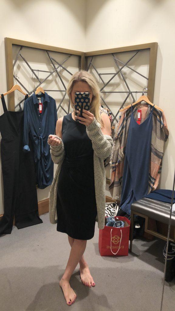 evereve cardigan over a dress