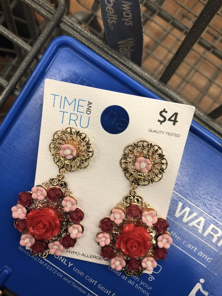 walmart time and true floral gold earrings