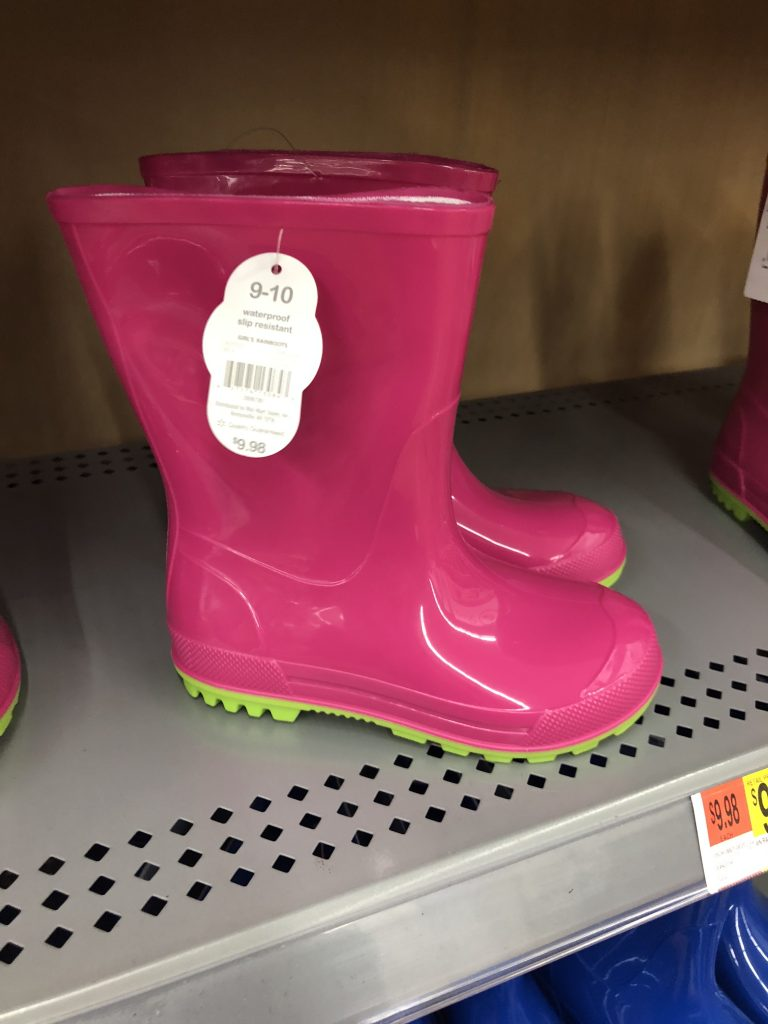 walmart pink color block toddler rain boots