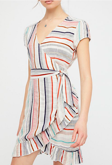 free people stripe wrap dress