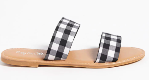 gingham flat two strap slides