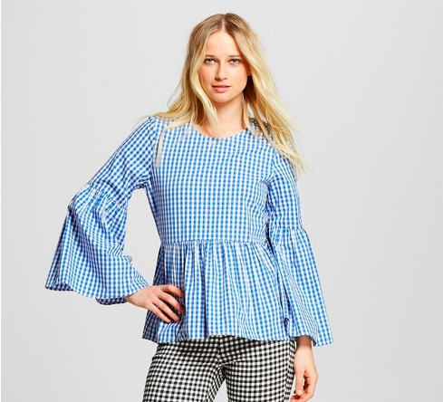 who what wear blue and white gingham top