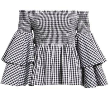 bp. ruffle sleeve gingham top