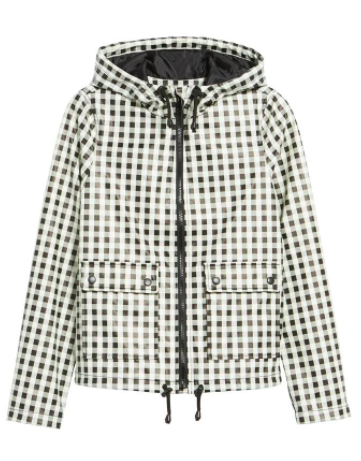 black and white gingham rain jacket