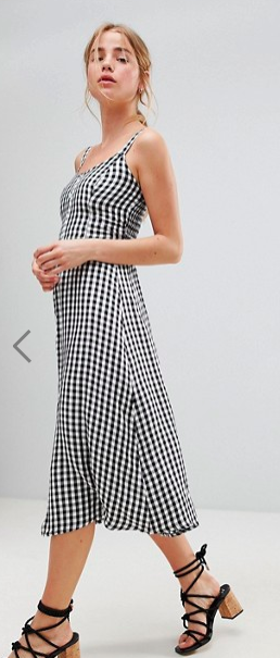Hollister 90's Button Thru Gingham Midi Dress