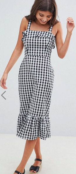 ASOS DESIGN Gingham Square Neck Pephem Midi Sundress