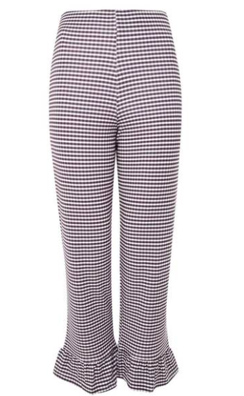 gingham ruffle hem women's pants