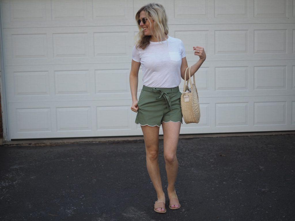 nordstrom scallop hem tie waist women's shorts