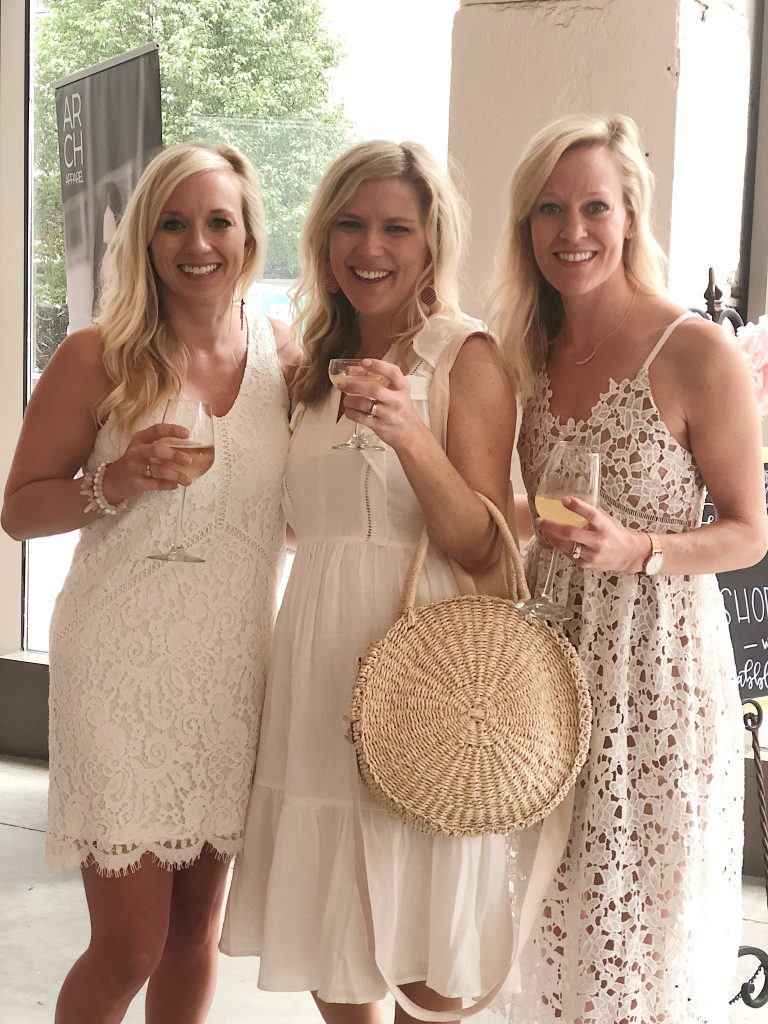 ladies in white dresses