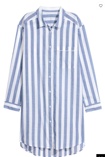 blue and white stripe sleep shirt