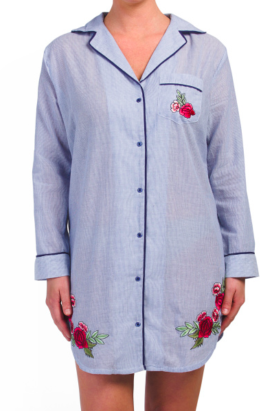 embroidered sleep shirt