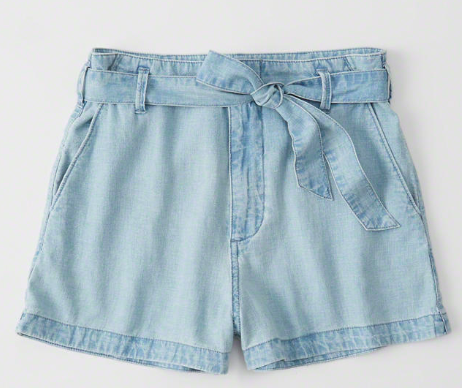 chambray tie waist shorts under $30