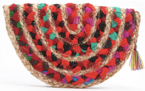 colorful raffia clutch