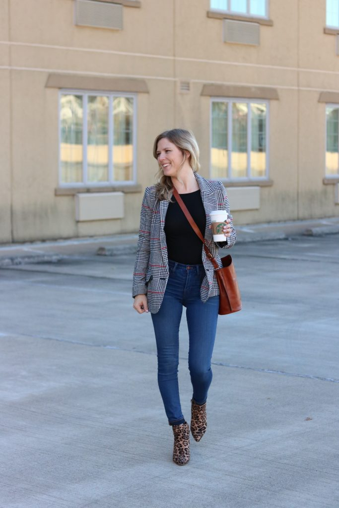 Leopard print block heeled booties with a plaid blazer and jeans | Madewell | Forever 21 | Nordstrom | MY TOP 20 LEOPARD PRINT PICKS FOR FALL featured by Missouri fashion blog Emmy Lou Styles