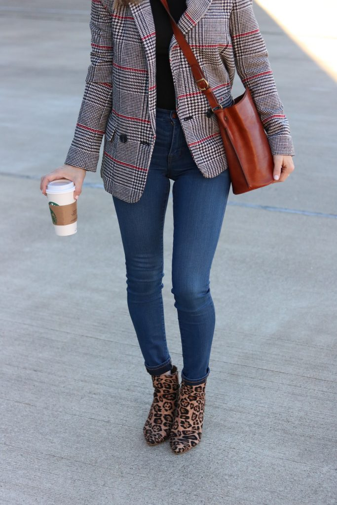 Leopard print block heeled boot with dark denim and a plaid blazer | Madewell | Forever 21 | Nordstrom | MY TOP 20 LEOPARD PRINT PICKS FOR FALL featured by Missouri fashion blog Emmy Lou Styles