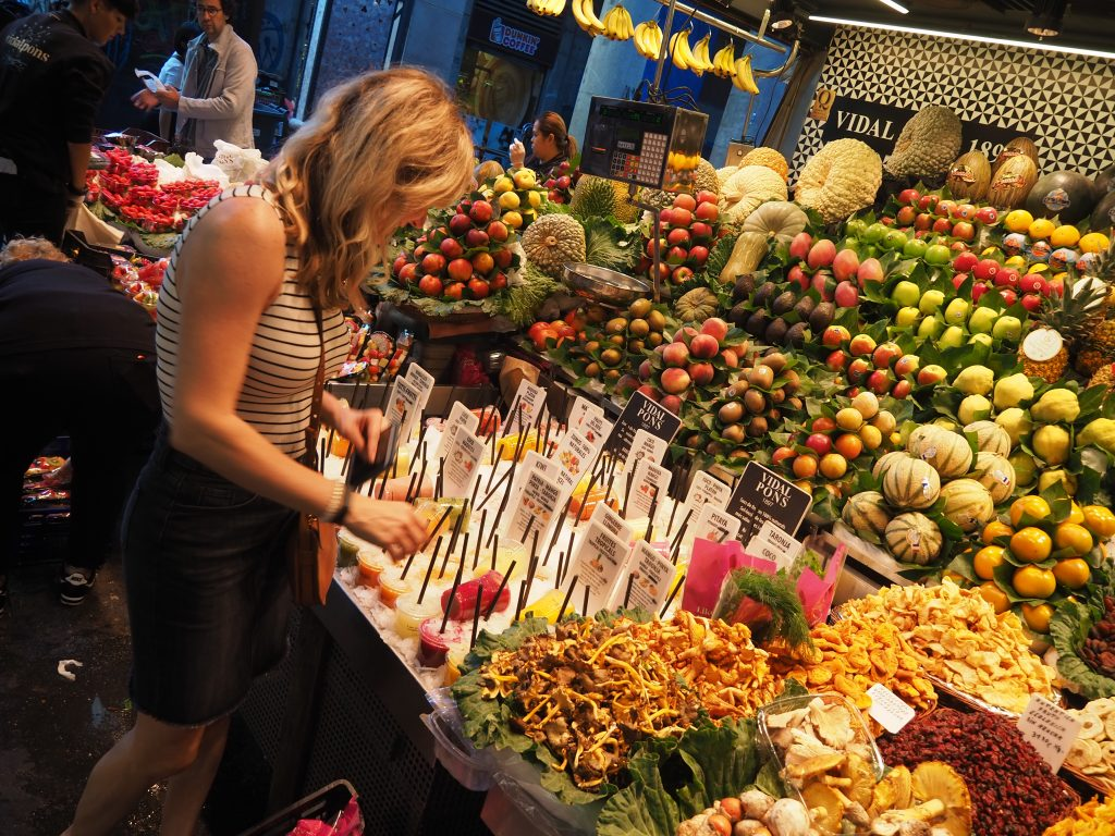 Visit the Mercat de la Boqueria in Barcelona to find fresh juices, fruit, desserts and more.