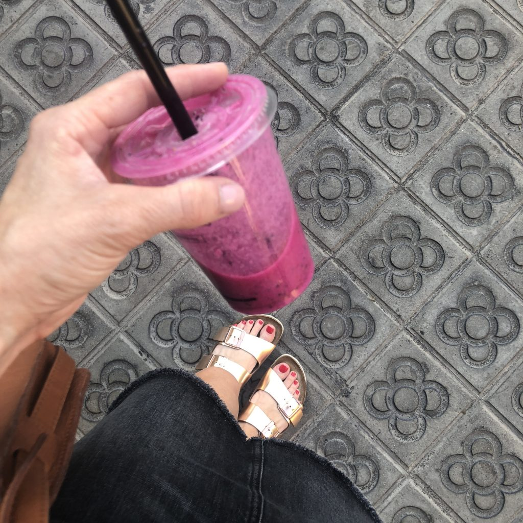 Visit La Boqueria Food Market in Barcelona and try a dragonfruit smoothie.