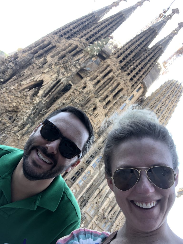 A selfie in front of Sagrada Familia in Barcelona
