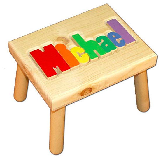 Emily from Emmy Lou Styles shares her gift guide for kids which includes this personalized name stepstool.