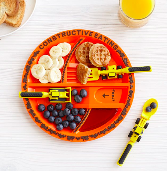 Construction Plate and Utensils make a great unique gift for a toddler boy.