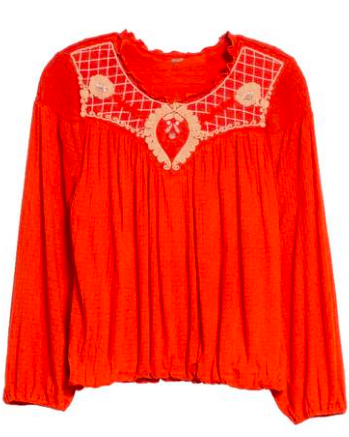 Cute Valentines Day Essentials featured by top US fashion blogger, Emmy Lou Styles: image of a red free people embroidered top