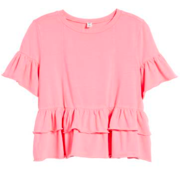 Cute Valentines Day Essentials featured by top US fashion blogger, Emmy Lou Styles: image of a bp. pink peplum shirt