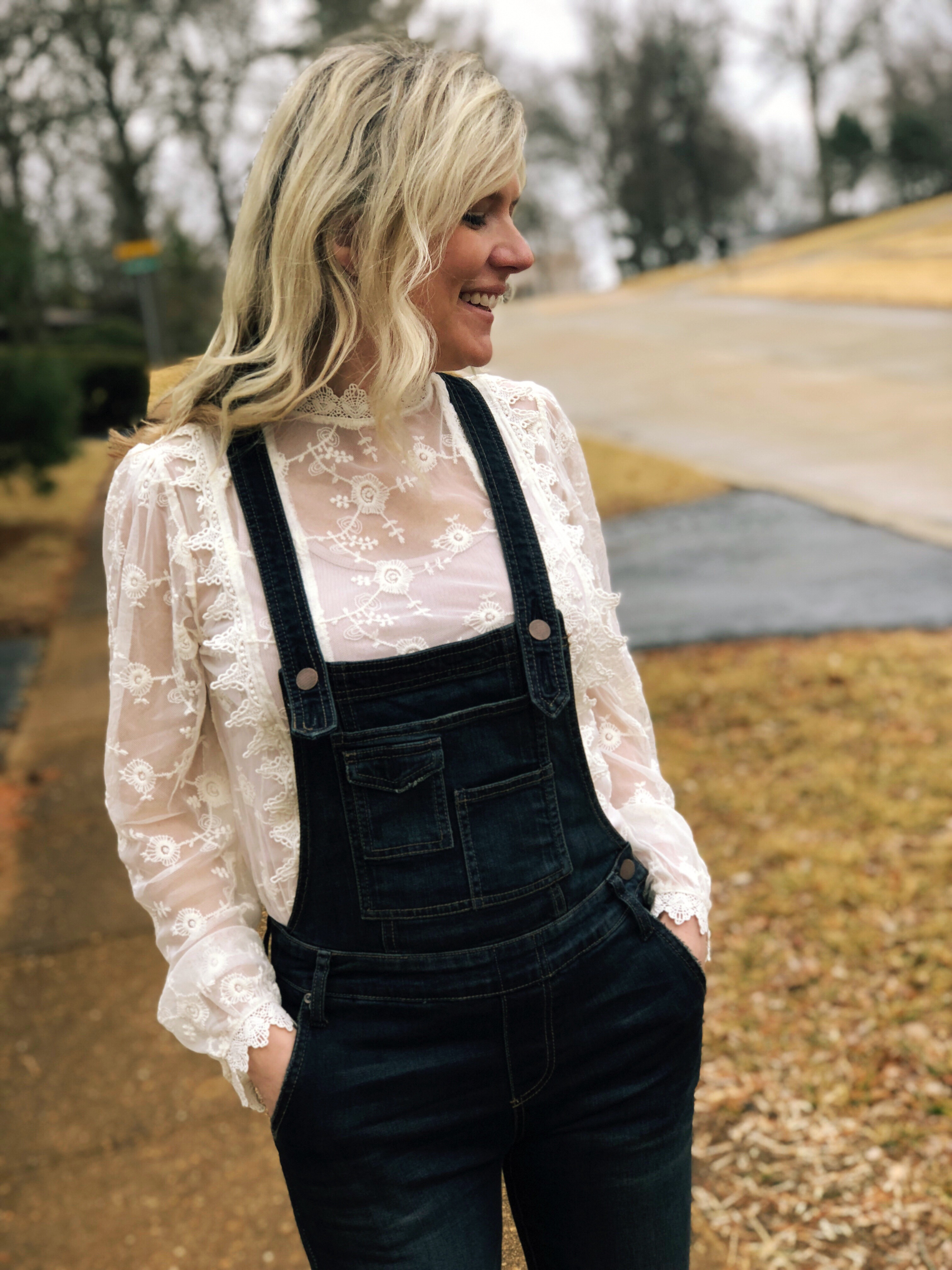 womens lace top with denim overalls | How to style Free People Overalls featured by top Missouri fashion blogger, Emmy Lou Styles: with lace