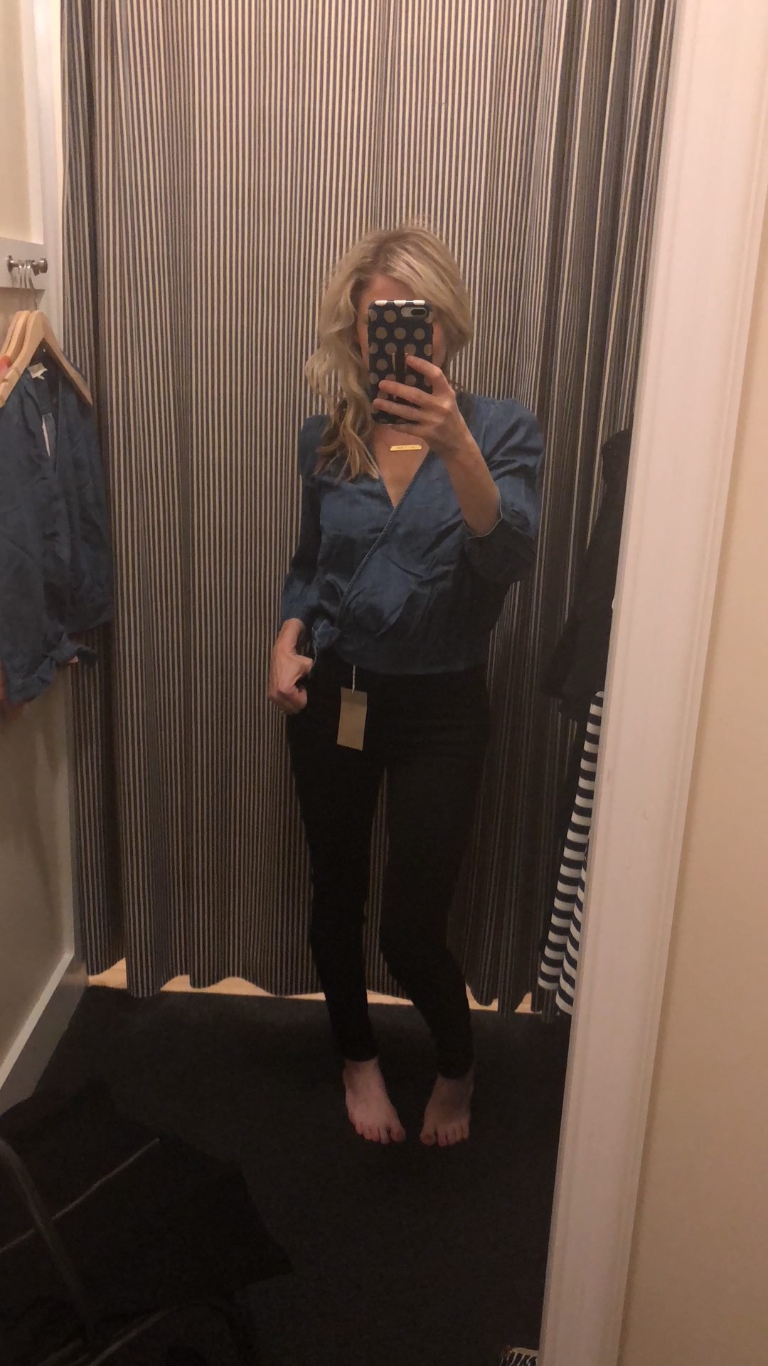 Madewell Denim Wrap Top | Madewell clothing try-on session featured by top Missouri fashion blogger, Emmy Lou Styles