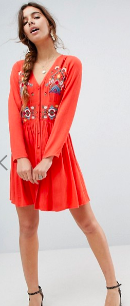 ASOS orange embroidered dress