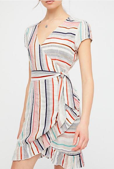 free people stripe wrap dress