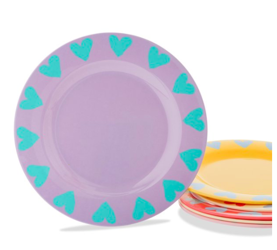 kids dinner plates with hearts