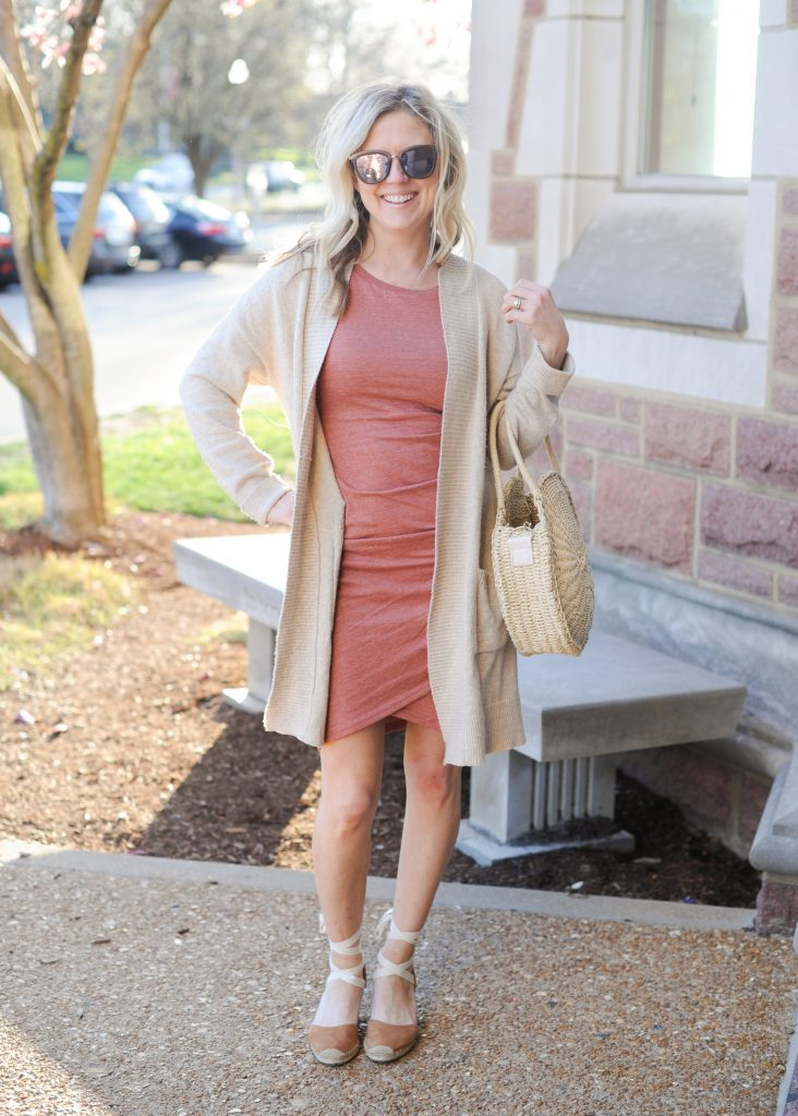 Leith Body-Con Ruching Tank Dress | How to style your Leith Ruched Dress featured by top Missouri fashion blogger, Emmy Lou Styles: image of a blonde woman wearing a Leith ruched dress, long cardigan and flat sandals