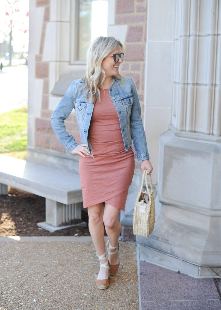 leith body-con tank dress | How to style your Leith Ruched Dress featured by top Missouri fashion blogger, Emmy Lou Styles: image of a blonde woman wearing a Leith ruched dress, long cardigan and flat sandals