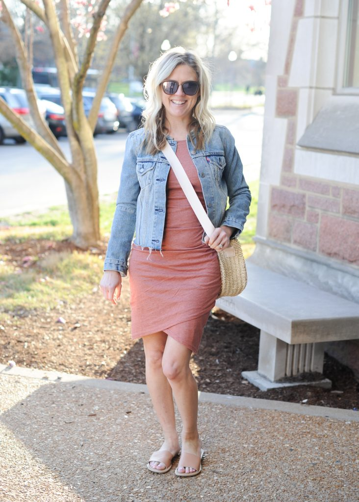 leith ruched body con tank dress | How to style your Leith Ruched Dress featured by top Missouri fashion blogger, Emmy Lou Styles: image of a blonde woman wearing a Leith ruched dress, long cardigan and flat sandals