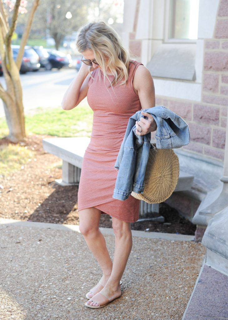 leith bodycon tank dress | How to style your Leith Ruched Dress featured by top Missouri fashion blogger, Emmy Lou Styles: image of a blonde woman wearing a Leith ruched dress, long cardigan and flat sandals