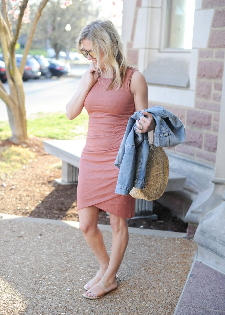 leith body con tank ruched dress | How to style your Leith Ruched Dress featured by top Missouri fashion blogger, Emmy Lou Styles: image of a blonde woman wearing a Leith ruched dress, long cardigan and flat sandals
