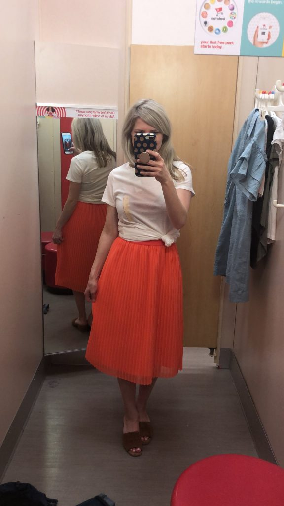 target coral pleated skirt