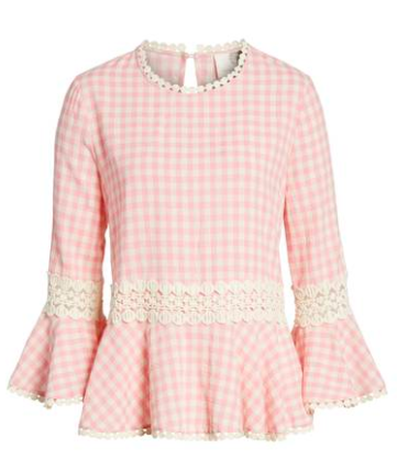 pink and white gingham peplum top