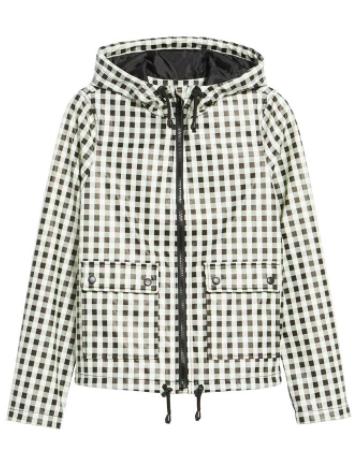 black and white gingham rain jacket
