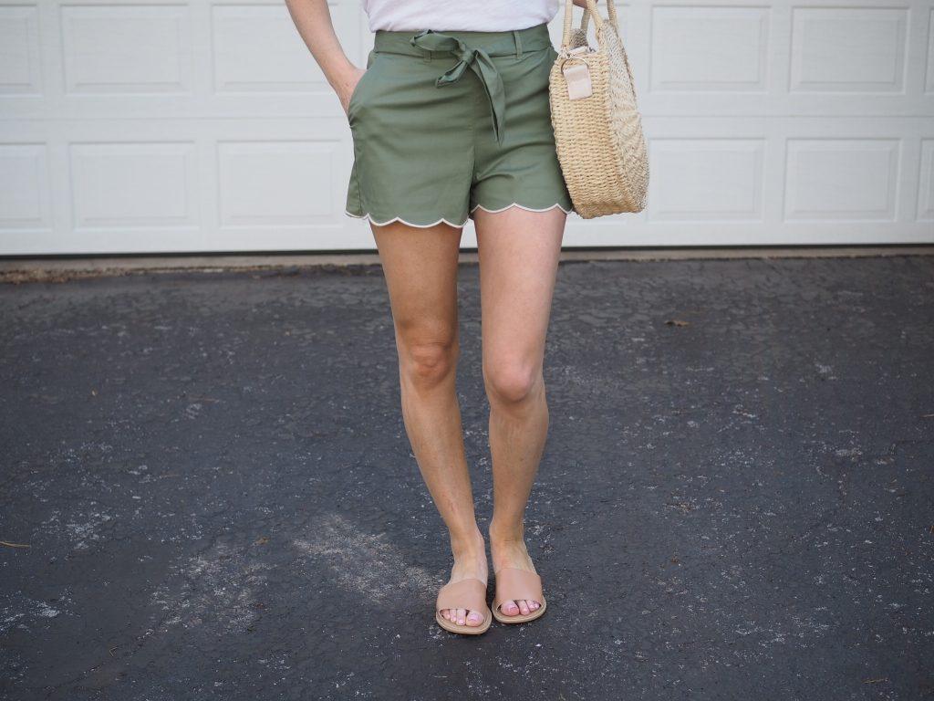 nordstrom scallop hem green tie waist womens shorts