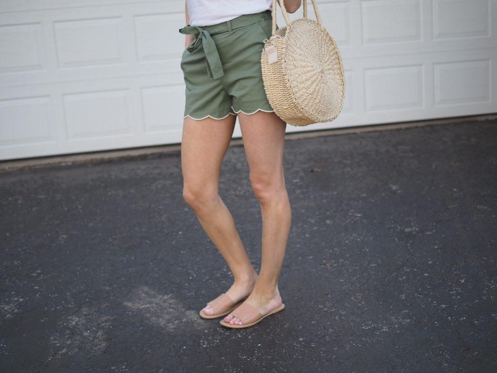 nordstrom tie waist scallop hem shorts