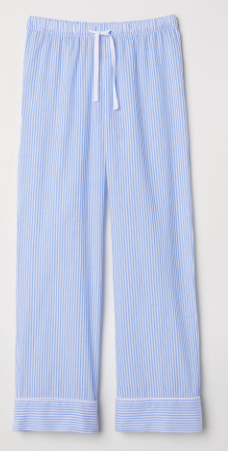 blue and white stripe pajama pants