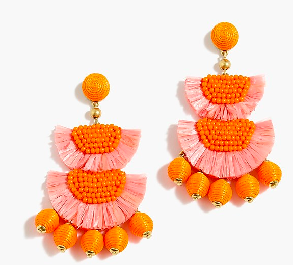 jcrew bead and raffia earrings