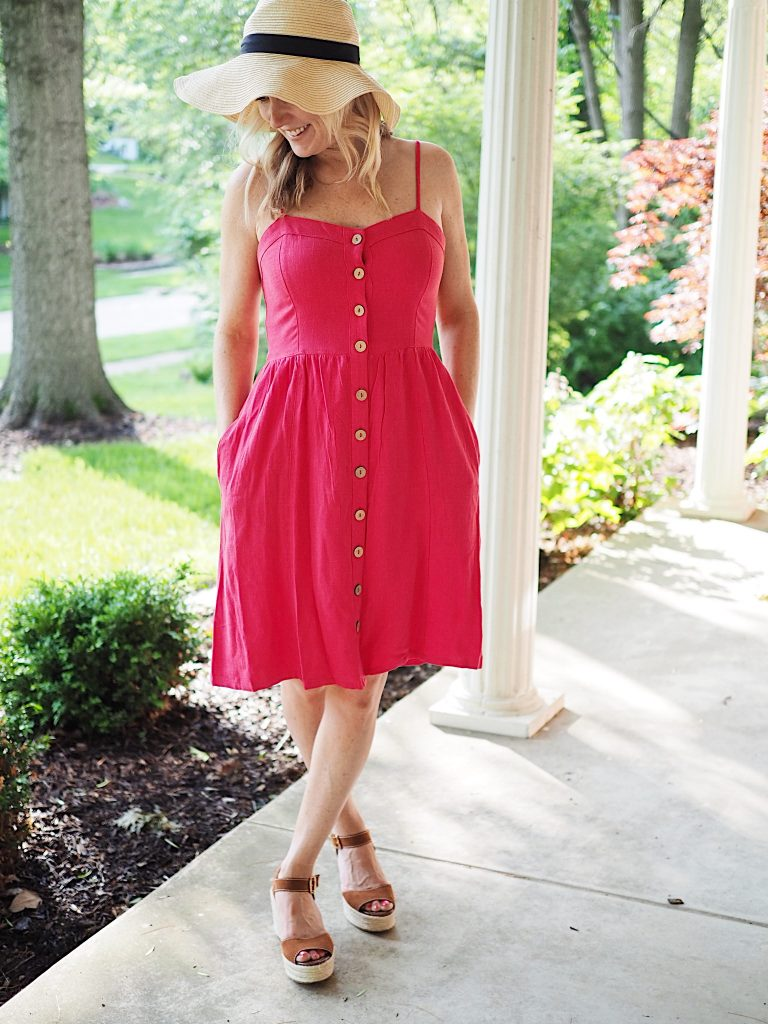 universal thread red dress with buttons