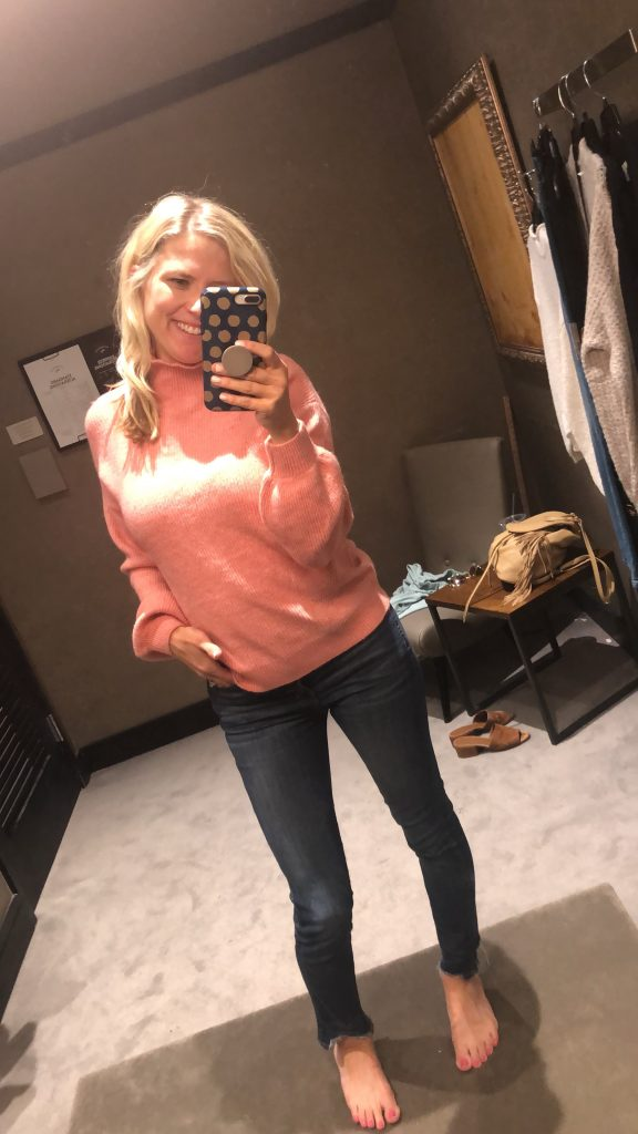 nordstrom pink sweater under $50 | Top Missouri fashion blogger, Emmy Lou Styles, features her Top Nordstrom Sale Picks: picture of a blonde woman wearing a pink Nordstrom sweater and denim jeans.