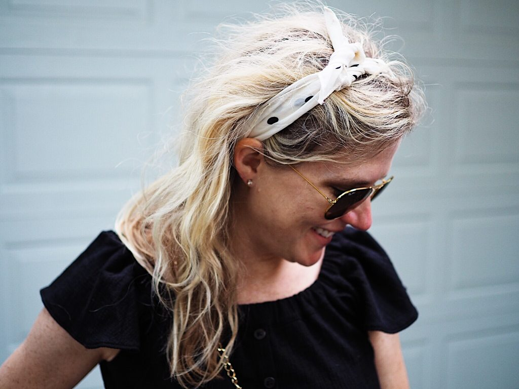 how to tie a polka dot bandana scarf in your hair featured by top Missouri fashion blogger, Emmy Lou Styles
