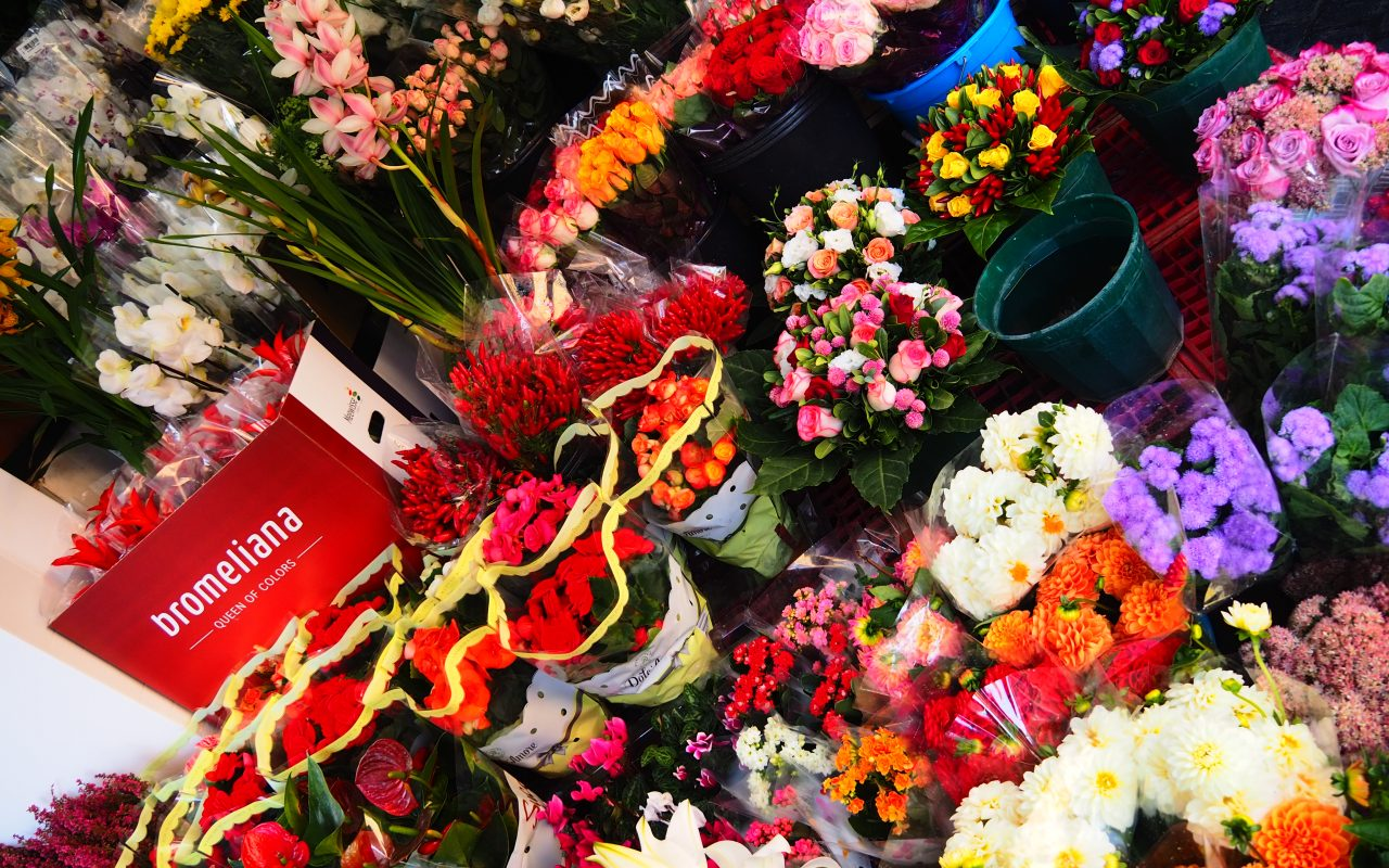 Beautiful flower stands near the Spanish Steps in Rome