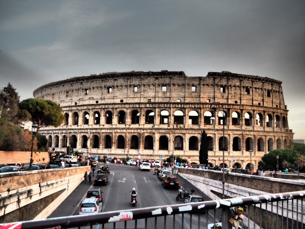 A picture of the Colosseum from the bridge outside